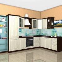 идея яркого дизайна кухни 8 кв.м картинка
