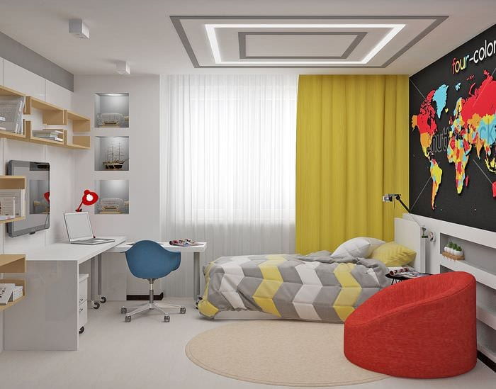 пример яркого современного декора детской комнаты