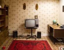 вариант яркого декора комнаты в советском стиле фото