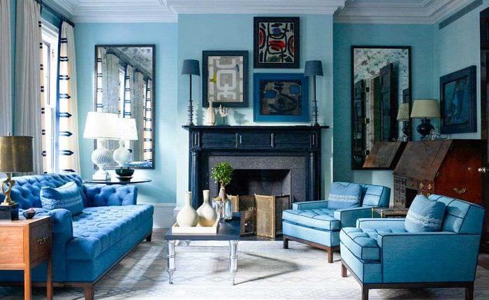идея использования необычного голубого цвета в стиле квартиры