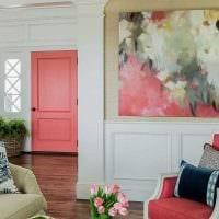 пример применения розового цвета в ярком дизайне квартире картинка