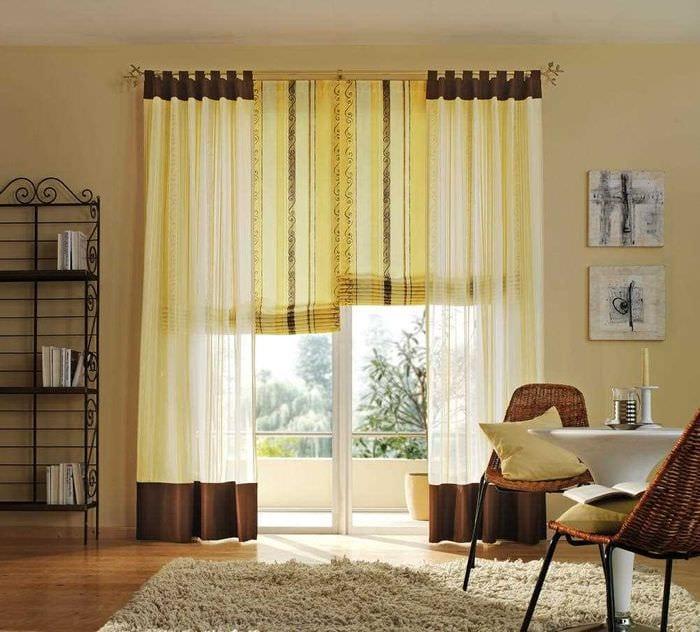 идея применения современных штор в светлом дизайне квартире