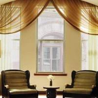 вариант применения современных штор в ярком дизайне квартире картинка