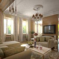 вариант применения светлого интерьера комнаты в стиле ретро картинка