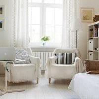 идея использования светлого ламината в необычном дизайне квартиры картинка