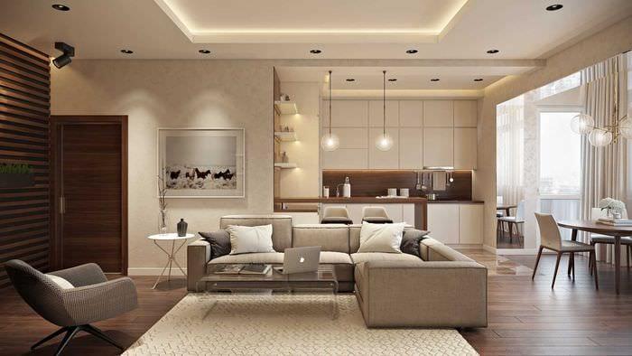 вариант использования светового дизайна в красивом интерьере квартиры