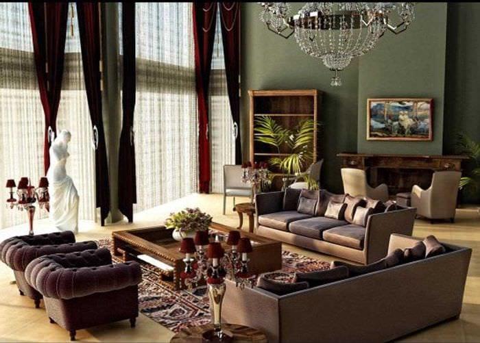 вариант применения светлого интерьера комнаты в стиле ретро