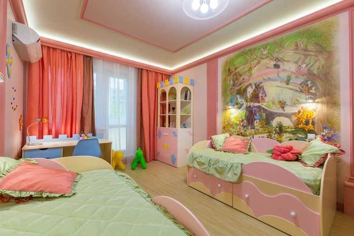 идея красивого дизайна детской комнаты для двоих девочек