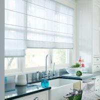 вариант красивого дизайна кухни с римскими шторами картинка