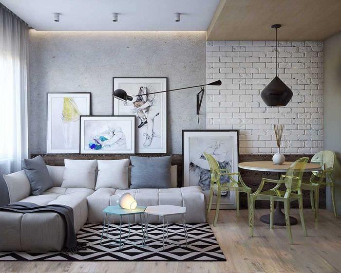 идея яркого интерьера двухкомнатной квартиры