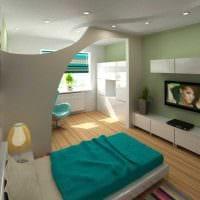 вариант светлого стиля спальни гостиной 20 кв.м. картинка