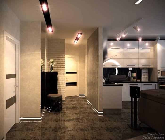 дополнили дизайн совмещенной прихожей гостиной и кухни фото фоторезистом можно