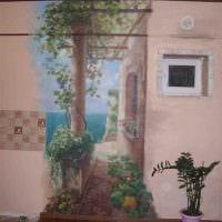 идея красивого интерьера дома с росписью стен фото