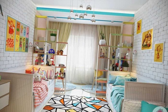 вариант яркого дизайна комнаты для девочки 12 кв.м