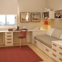 вариант светлого декора небольшой комнаты в общежитии картинка