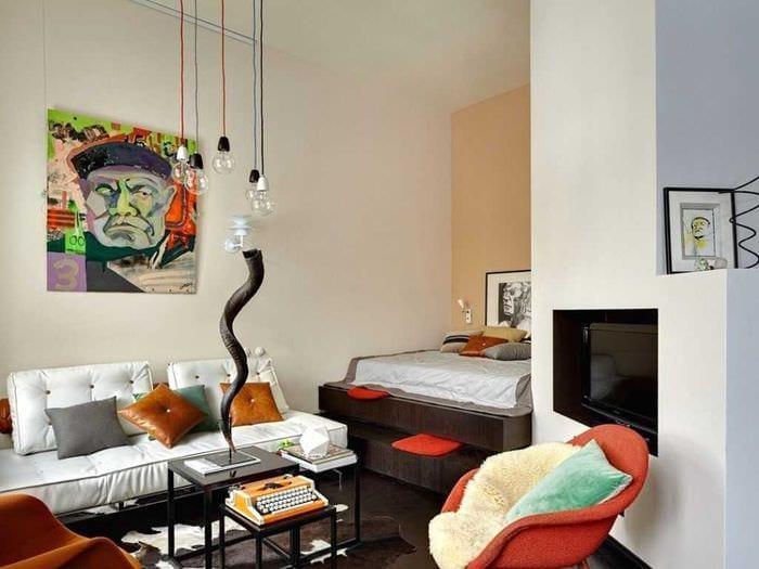 вариант необычного стиля спальни гостиной 20 кв.м.