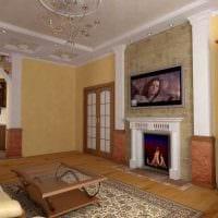 вариант красивого декора гостиной в частном доме фото