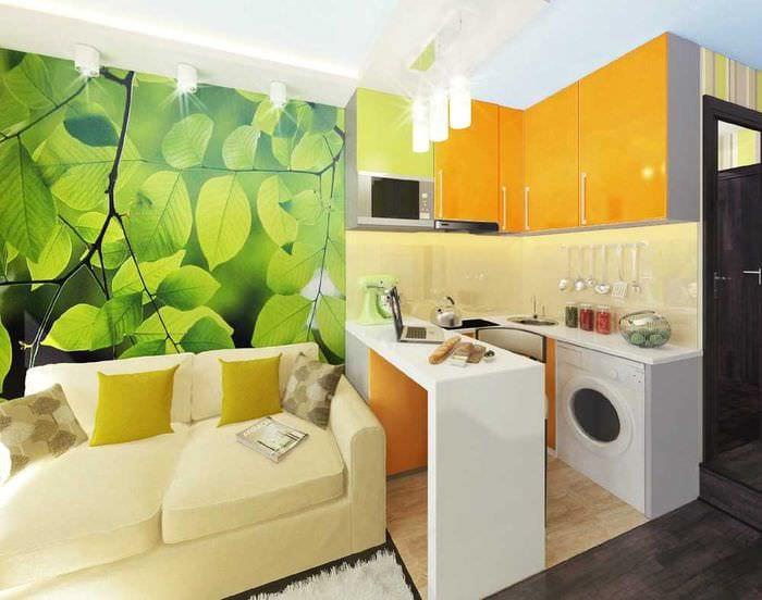 пример красивого интерьера кухни 14 кв.м