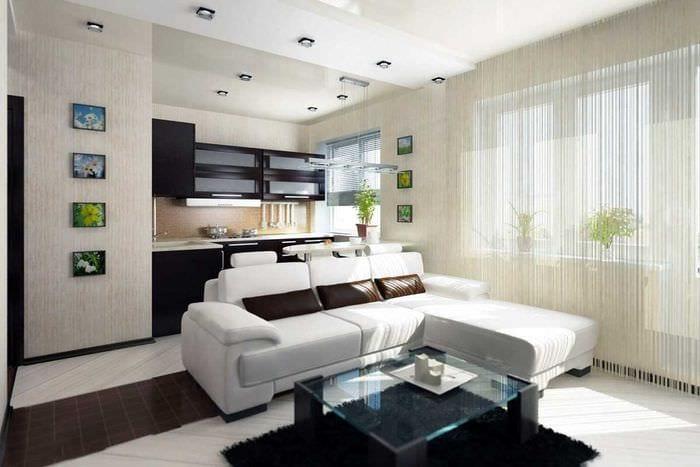 идея яркого интерьера квартиры студии
