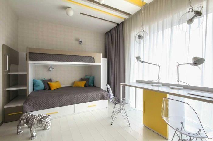 вариант яркого дизайна спальни для девочки в современном стиле