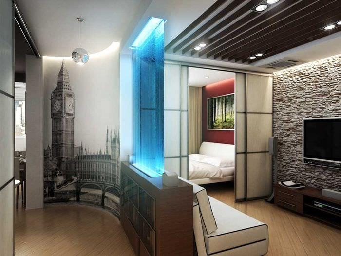 идея яркого декора спальни гостиной 20 кв.м.