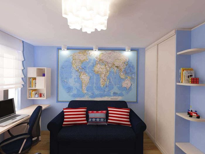 идея необычного современного интерьера детской комнаты