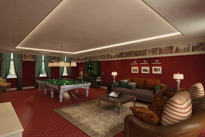 вариант красивого дизайна бильярдной комнаты