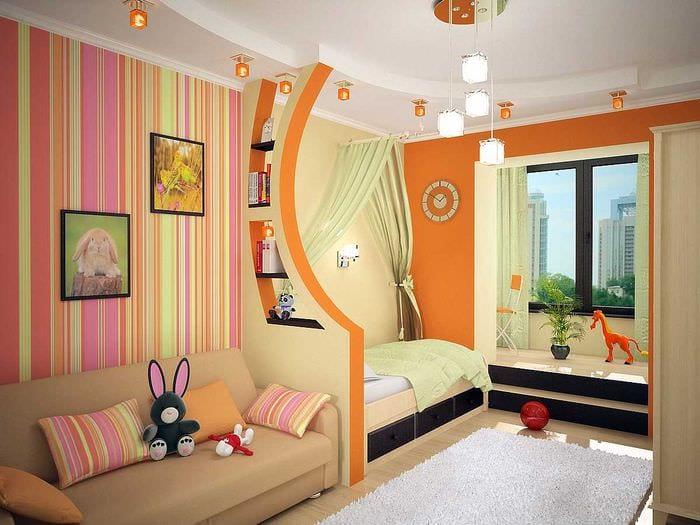 вариант яркого дизайна детской комнаты для двоих девочек