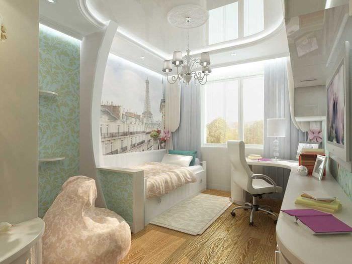 идея яркого дизайна детской комнаты для девочки 12 кв.м