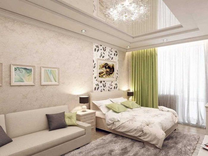 идея яркого декора гостиной спальни