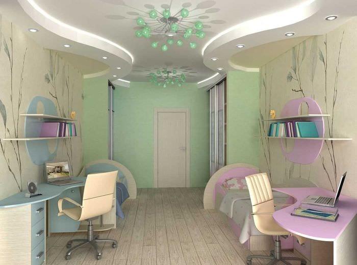 вариант необычного стиля детской комнаты для двоих девочек