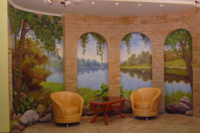 вариант необычного декора дома с росписью стен