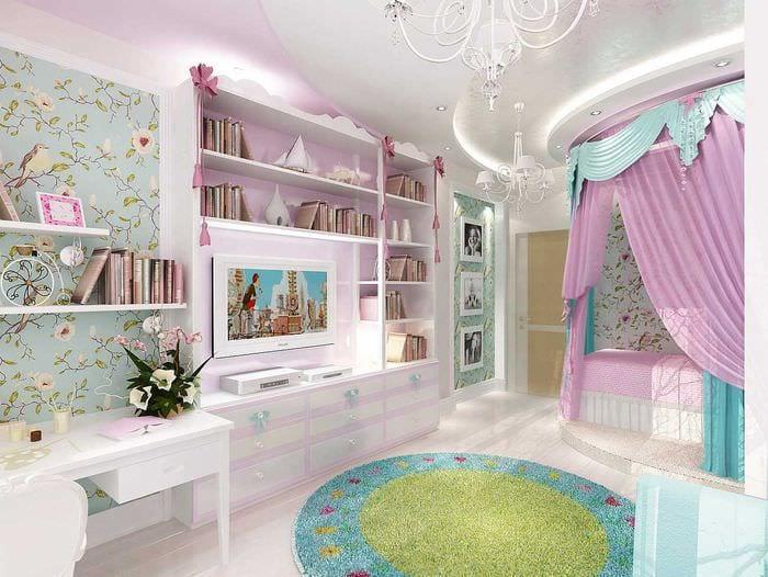 вариант необычного декора спальни для девочки в современном стиле