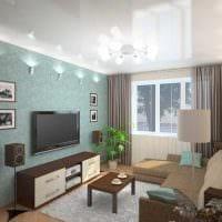 вариант светлого интерьера гостиной спальни 20 кв.м. фото