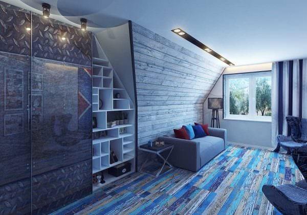 вариант необычного интерьера спальной комнаты для молодого человека картинка