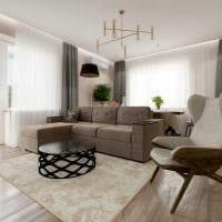 идея светлого дизайна зала в частном доме фото