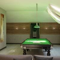 идея яркого дизайна бильярдной комнаты фото