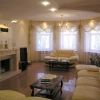 вариант красивого интерьера зала в частном доме фото