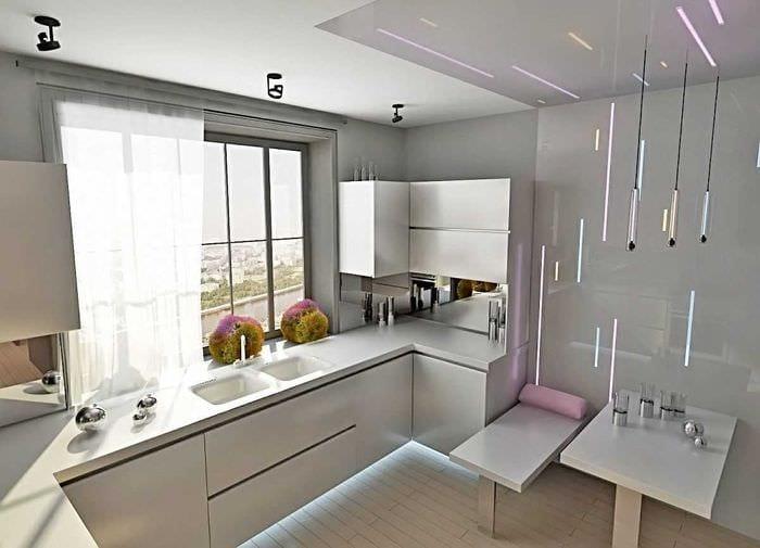 идея светлого декора кухни 14 кв.м