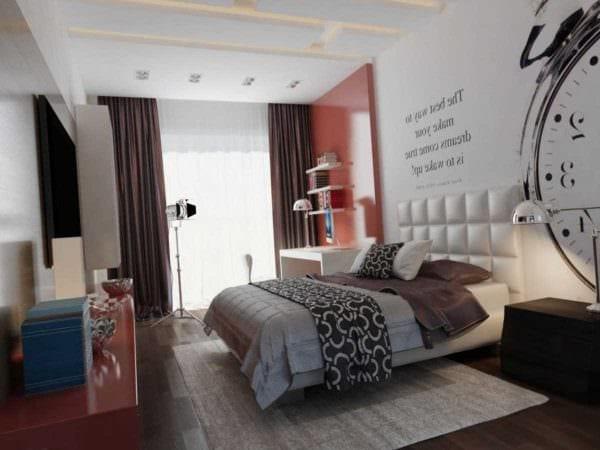 идея красивого декора спальни для молодого человека фото