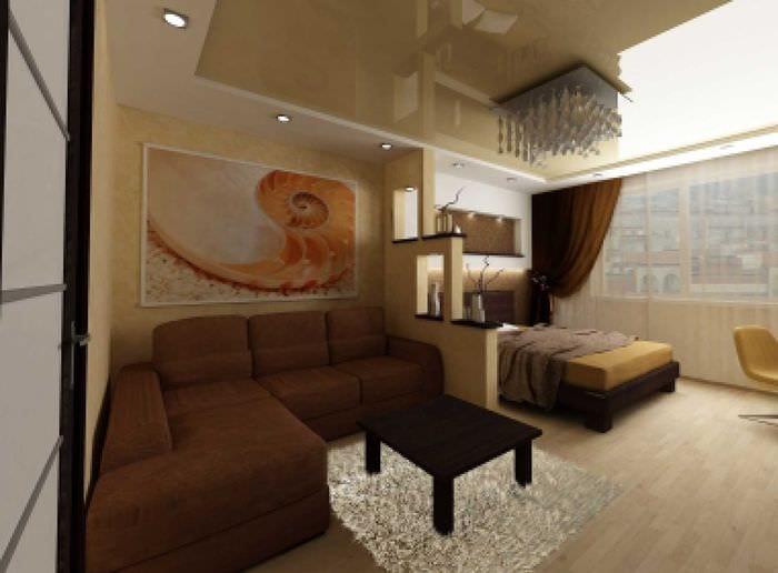 вариант необычного дизайна спальни гостиной 20 кв.м.