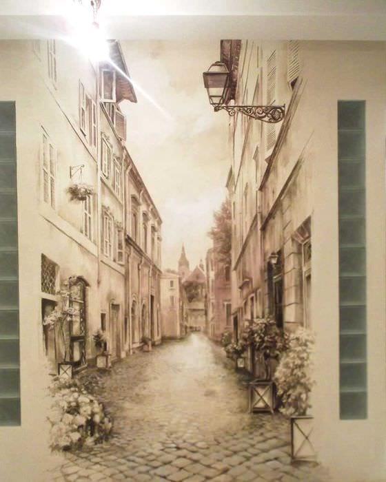 идея светлого дизайна дома с росписью стен