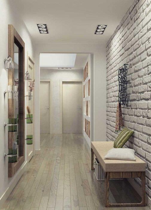 вариант необычного интерьера современной прихожей комнаты