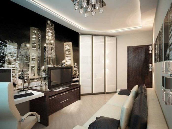 идея красивого дизайна спальной комнаты для молодого человека
