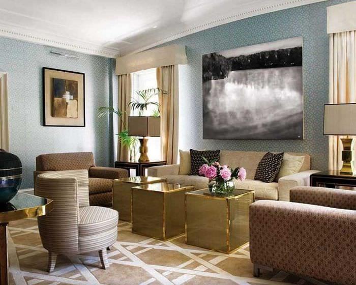 идея необычного сочетания бежевого цвета в дизайне квартиры