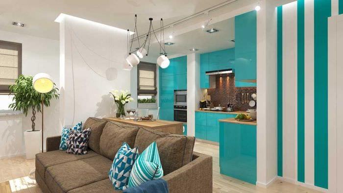 идея светлого сочетания цвета в дизайне современной комнаты
