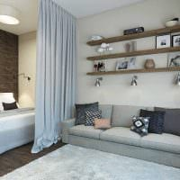 идея красивого дизайна гостиной комнаты 18 кв.м. фото