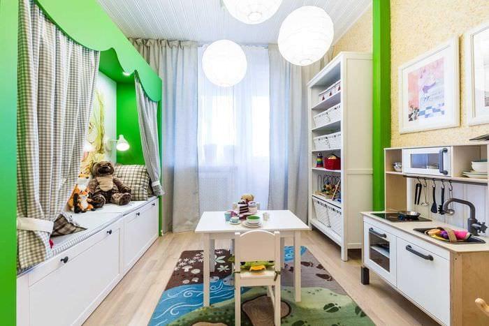 вариант красивого интерьера комнаты для девочки 12 кв.м