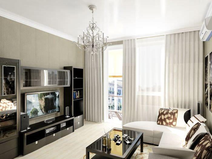 вариант светлого интерьера маленькой комнаты