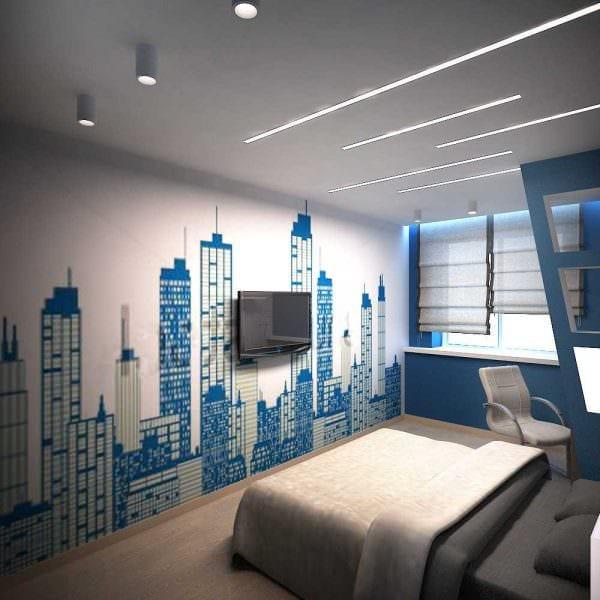 вариант светлого интерьера спальни для молодого человека фото